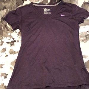 Purple Nike dri-fit v neck workout shirt